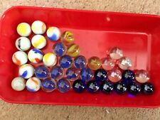 36 LARGE MIXED  GLASS MARBLES various colours.