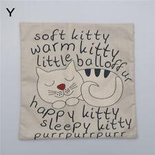 Cartoon Cat Pillow Case Sofa Waist Throw Cushion Cover Home Decor Gift Flax 5huk P