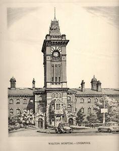 Vintage Print: WALTON HOSPITAL, LIVERPOOL: Pencil Drawing after GRAHAM CLILVERD