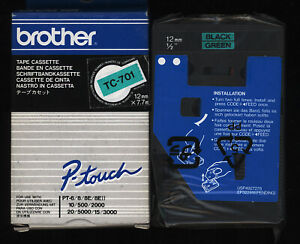 1x BROTHER Tape TC-701 P-touch 12mm Farbband BLACK / GREEN für PT-6/8/10/500