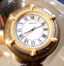 VERDURA FINE JEWELERS NYC BRASS & TWISTED SILVER ROPE SLOPED CLOCK