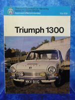 TRIUMPH 1300 Pearson's Illustrated Car Servicing Manual/Guide RAC Approved BOOK