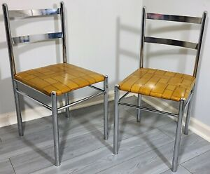MID-CENTURY MODERN CHROME STRAIGHT BACK DINING CHAIR PAIR VINTAGE 1970s LIBERTY