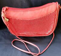 Vintage Whiting & Davis International Red Mesh Nail Head & Leather Purse Handbag