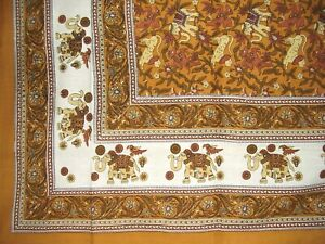 """Elephant Print Tapestry Cotton Spread 106"""" x 72"""" Twin Brown"""