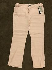 NYDJ | Wylie Stretch Linen Blend Trousers In Macaroon/Pink SZ 16 NEW $114