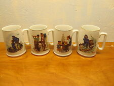 vintage mugs with Norman Rockwell paintings on them