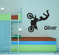 Personalise your kids name & a boy riding dirt bike with trick wall decal
