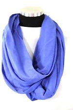B79 Seamless Soft Blue Infinity Scarf Raw Edge Fabric Stretch