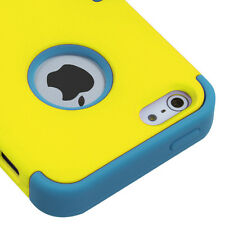 For Apple iPhone 5 Rubber IMPACT TUFF HYBRID Case Skin Phone Cover Yellow Teal