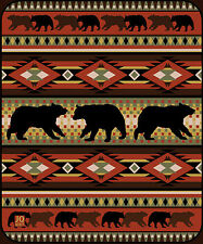 Collection Black Bear Lodge High Quality Raschel Plush Queen Size Blanket