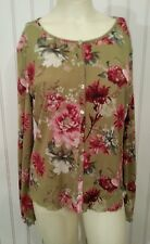 JJLL CARDIGAN  RED FLORAL ON OLIVE BACKGROUND  SZ M LONG SLEEVE BEAUTIFUL !
