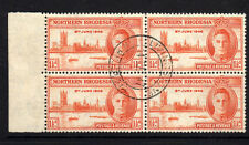 NORTHERN RHODESIA 1946 VICTORY 1½d PERF 13½ IN BLOCK OF FOUR SG 46a FINE USED.