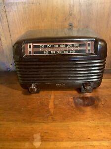 Nice Vintage PHILCO TRANSITONE 48-250 Bakelite Tube Radio - Hums