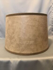 Faux Leather Marbled Drum Lamp Shade Floor Lamp Beige / Brown  13 x 15 x 10