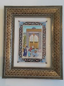 "Persian Iranian Painting on Camel Bone Khatam Inlaid Frame Signed 10"" x 13"""
