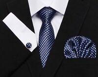 Set Cravate-7cm,100% Soie-Jacquard,Bleu Marine+Boutons Manchette+Mouchoir,France