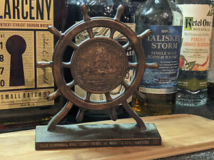 Ship Wheel Copper Bookends Navy Material from US FRIGATE CONSTITUTION 1927 NAVY