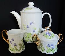 Hand Painted Coffee Pot, Sugar Bowl & Creamer Seltmann Weiden Barvaria Germany
