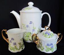 Hand Painted Coffee Pot, Sugar Bowl & Creamer Seltmann Weiden Barvaria Germany