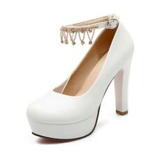 Chic Womens Ankle Strap Platform High Heel Pumps Party Wedding Round Toe Shoes D
