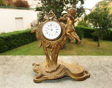 Ancien très beau porte-montre à gousset en régule doré ange angelot Art Nouveau.
