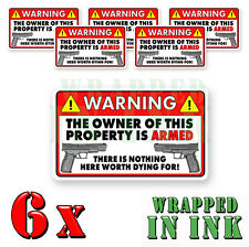 WARNING Video Surveillance Stickers Home Alarm Stickers RED REC. Decal 6 PACK