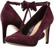 Nine West Hollison 6.5 Wine Burgundy Mary Janes Suede T Strap Classic Bow Pumps