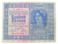 1922 Austria Austro-Hungarian Empire 1000 Kronen Vintage Banknote Paper Money