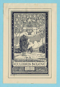 Ex libris Art Deco Exlibris by LENZ WILHELM (1872-1940) Germany