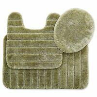 Mohawk Veranda Raised Striped Bath Rug Set 3 Piece - Olive