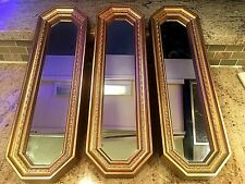 """Vintage 3 Home Interiors & Gifts Rectangular Gold Wall Mirror Homco 17 1/2 x 5"""""""