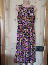 PAPAYA BLACK PINK FLORAL PRINT SLEEVELESS DRESS FLIPPY VINTAGE STYLE SIZE UK 10
