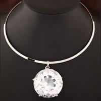 Huge Large Big Clear Gem Crystal Rhinestone Necklace Bib Pendant Choker Silver