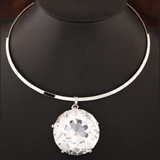 Huge Large Big Clear Gem Crystal Rhinestone Necklace Bib Pendant Choker Silver