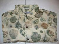 Reyn Spooner Mens Shirt LARGE Short Sleeve Sea Shell Print Hawaii Hawaiian