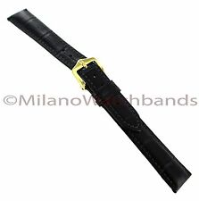 16mm Hirsch Duke Alligator Grain Matte Black W/ Dark Grey Stitching Watch Band