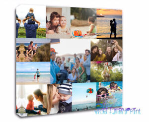"""CANVAS NO BORDER & WRAPPED 20""""X20""""  FAMILY COLLAGE PERSONALISED PHOTO BIRTHDAY"""