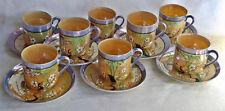 JAPON 8 tasses 8 soucoupes café nacré mauve pêche 1900-1930 signées Dai Nichon