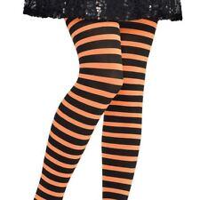 Infantil Halloween Naranja Negro Bruja Calabaza Medias Rayadas Accesorio S/M
