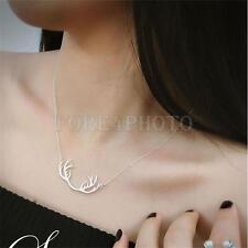 Deer Horn Short Clavicle Necklace Chrismas Gifts Antler Women Pendant Jewelry