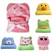 Soft Newborn Baby Infant Flannel Hooded Blanket Bath Towels Animal Bathrobe