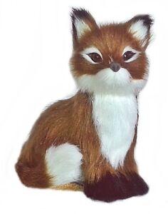 Deco fuchs From Faux Fur Animal Miniature Handmade fur Animal Plush Braun White