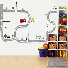 Cartoon Car Traffic Road Kid Play Room DIY Removable Wall Sticker Home Decal