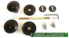 Black Plastic Black Mortice Latch Drawer Door Pull Round Knob Handle Set - Shed