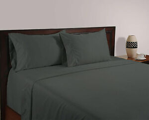Hotel Quality 600 TC Dark Grey Solid All UK Bedding Set 100% Egyptian Cotton