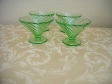 Federal Glass - Diana Green Depression Glass - 4 Champagne/Sherbet Glasses -1941