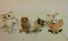 Vintage Owl Brooch Lot of 4 Metal Enamel Mamselle and Other