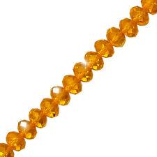 "Naranja Cristal Facetado Rondelle Perlas De Vidrio Filamento 10x7mm 8"" (P53/1)"