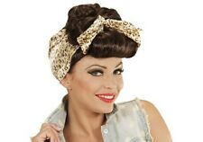 Rockabilly Ladies Brown Wig 50s 60s Pin Up Wartime Housewife Scarf Fancy Dress